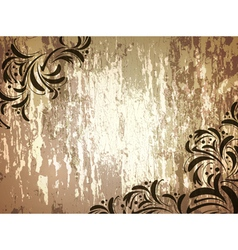 wooden background with floral frame vector image