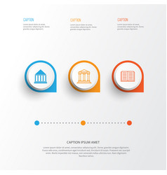 Education icons set collection of college opened vector