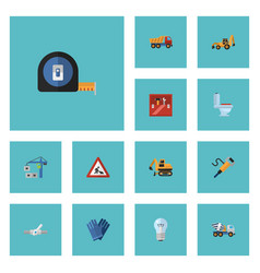 flat icons toolkit caution tractor and other vector image vector image