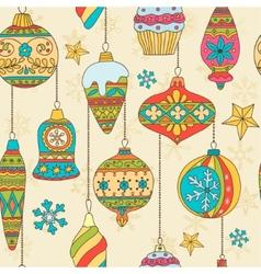 Hand drawn Christmas tree balls Seamless pattern vector image vector image