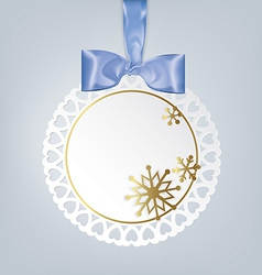 Round card with snowflakes vector image