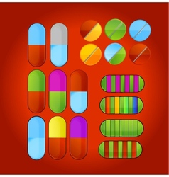 shiny colored medic pills vector image