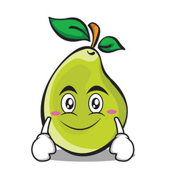 smile face pear character cartoon vector image