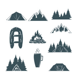 summer camp with design elements camping vector image