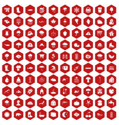 100 clouds icons hexagon red vector image