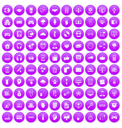 100 programmer icons set purple vector