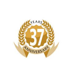37 years ribbon anniversary vector image