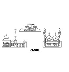 Afghanistan kabul line travel skyline set vector