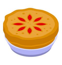 Apple pie food icon isometric style vector