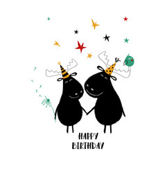 Birthday card with couple of moose vector