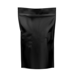 black coffee bag zip package mock up foil paper vector image