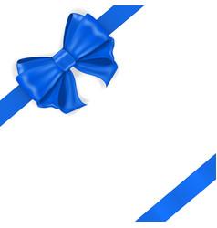blue ribbon bow diagonal wrapped gift vector image