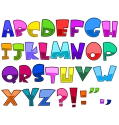 Bright cartoon alphabet vector