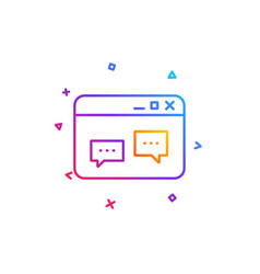 browser window line icon chat speech bubbles vector image