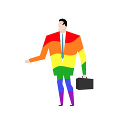 Businessman is gay rainbow clothes lgbt manager vector
