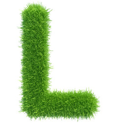 capital letter l from grass on white vector image