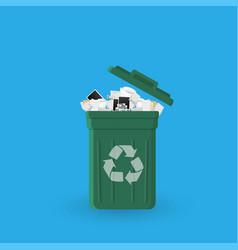 cartoon office trash recycle bin for garbage bin vector image