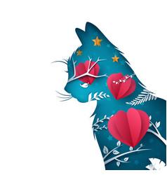 cartoon paper cat heart air balloon vector image