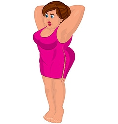 Cartoon young fat woman in pink dress barefoot vector image