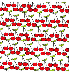Cherries pattern fresh fruit drawing icon vector