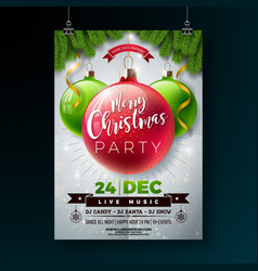 christmas party flyer with shiny vector image