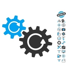 Cogs Rotation Icon With Copter Tools Bonus vector