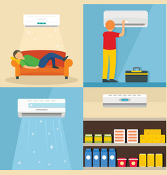 Conditioner air banner concept set flat style vector