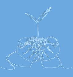 continuous line of hand showing growing plant vector image