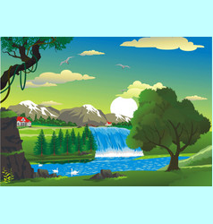 countryside - house by the waterfall vector image