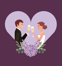 couple toasting wine glasses in heart flower vector image