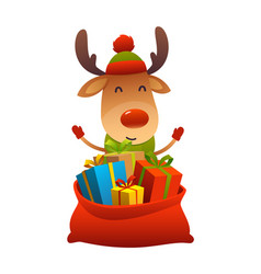 cute cartoon reindeer behind toy bag with gifts vector image