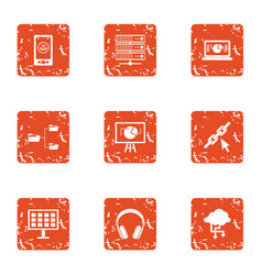 Cyber life icons set grunge style vector