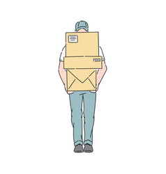 delivery man or courier in uniform holds post vector image