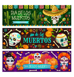 dia de los muertos mexican holiday skull and bones vector image