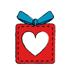 Drawing red gift box heart love present vector