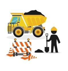 Dump truck full barrier cone road and worker vector