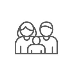 Family mother father child line icon vector
