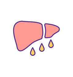 fatty liver disease rgb color icon vector image