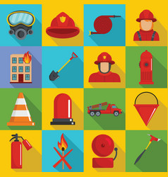 fire fighter icons set flat style vector image