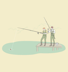 fishing and recreation sport leisure concept vector image