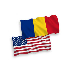 Flags romania and america on a white background vector