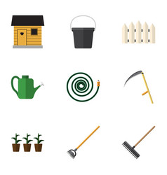 Flat icon dacha set of harrow pail wooden vector
