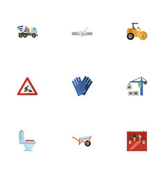 Flat icons hoisting machine handcart mitten vector