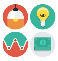 Flat icons lamp analysis dollars vector