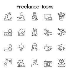 freelance icons set in thin line style vector image