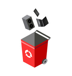 garbage can for sorting recycling elements vector image