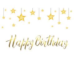 Golden inscription happy birthday and the stars vector