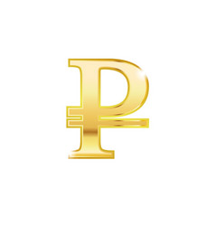 Golden ruble symbol isolated web icon vector