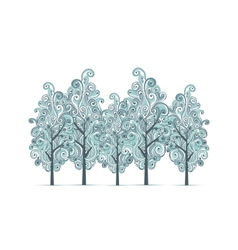 Grove with winter trees for your design vector