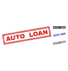 grunge auto loan textured rectangle watermarks vector image